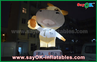 Chiny Reklama 10m Giant Oxford Cow Inflatable Cartoon White Color With Led Light dostawca