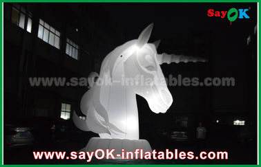 Chiny Full White Oxfiord Cloth Inflatable Horse Unicorn With LED Light dostawca