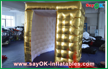 Chiny Square Golden Outside Inflatable Photo Booth White Inside For Photo Studio dostawca